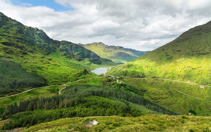 Loch Restil in Argyll Forest Park in the Highlands, Scotland, United Kingdom.