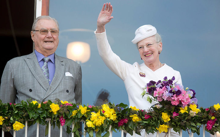 AARHUS, DENMARK - APRIL 8:   Prince Henrik and Queen Margrethe II of Denmark attend a lunch reception to mark the forthcoming 75th Birthday of the Danish Queen at Aarhus City Hall on April 8, 2015 in Aarhus, Denmark. (Photo by Julian Parker/UK Press via G