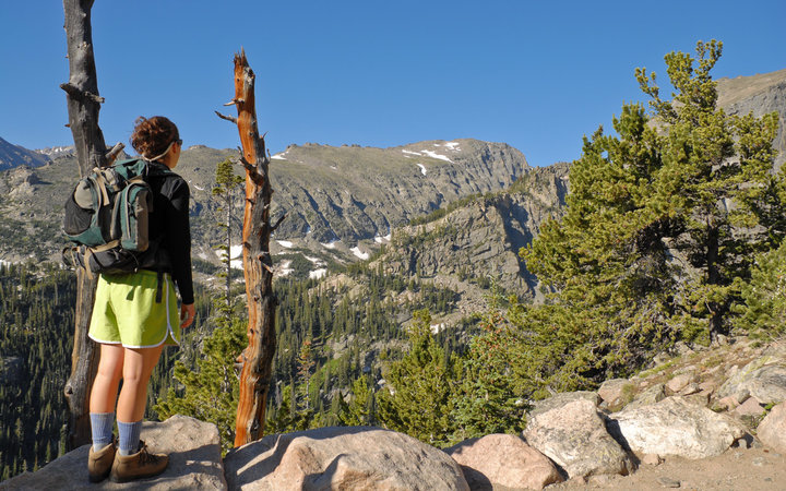Young Woman Hiking in the Colorado Rockies, Rocky Mountain National Park, Colorado