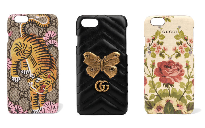 Three Gucci Phone Cases Lined Up