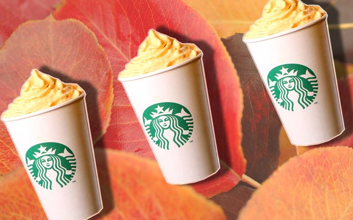 Starbucks Pumpkin Spice Latte Whipped Cream Holiday Drink Menu