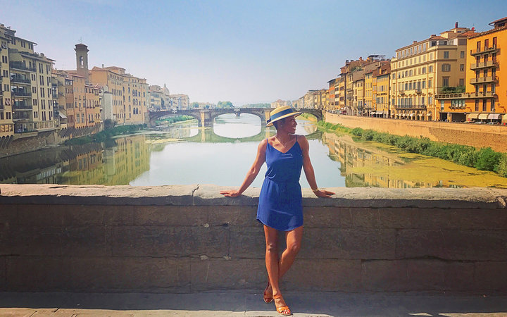 Kelle Edwards on the Ponte Vecchio in Florence, Italy