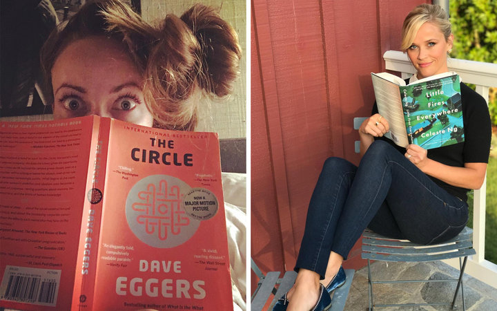 Spliced image of Olivia Wilde and Reese Witherspoon reading