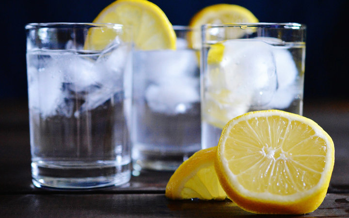 Close-Up Of Fresh Lemonade On Table