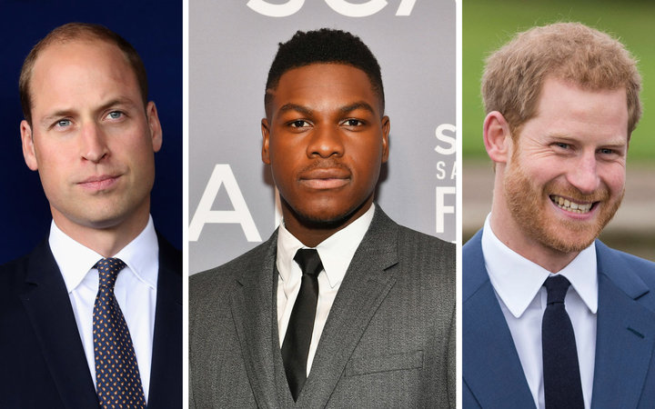 Spliced photos of Prince Harry, Prince William, and John Boyega