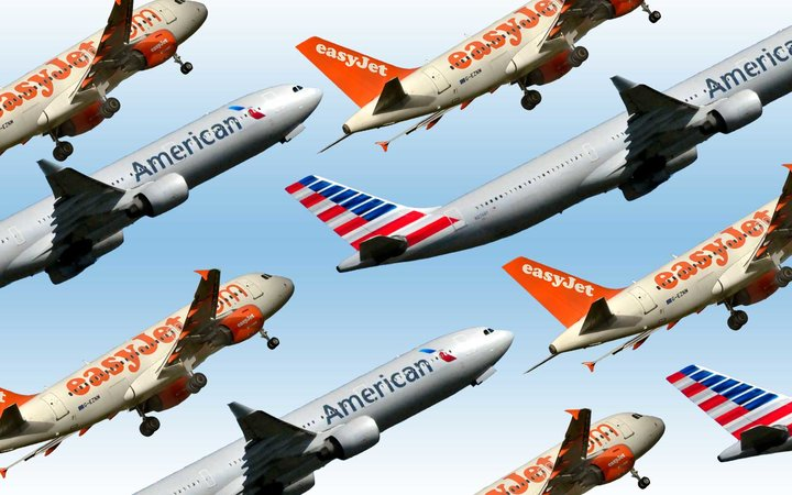 American Airlines and Easy Jet planes