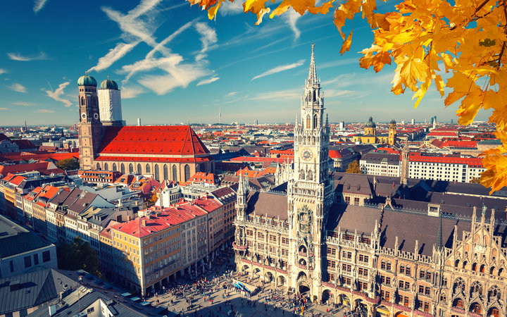 View of Munich, Germany in the fall