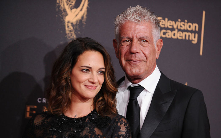 Asia Argento and Anthony Bourdain attend the 2017 Creative Arts Emmy Awards at Microsoft Theater on September 9, 2017 in Los Angeles, California.