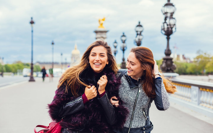 Best friends spending time together in Paris