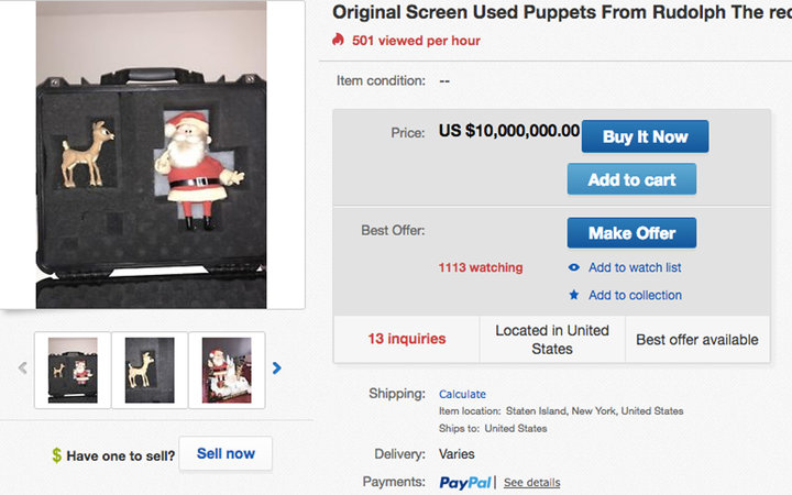 'Rudolph the Red-Nosed Reindeer' puppets for sale