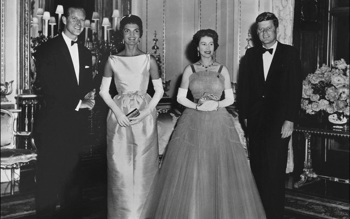 Prince Philip, Jackie Kennedy, Queen Elizabeth II and John Kennedy at a reception at the White House in Washington, in the United States, on June 5, 1961.