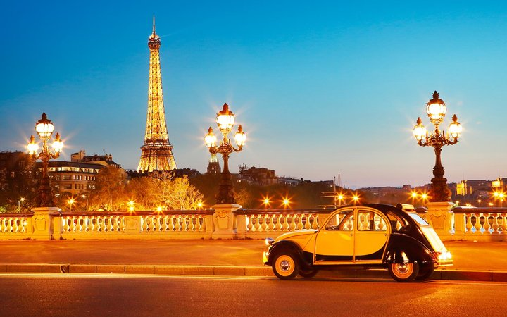 Eiffel Tower Landmark Paris France Vintage Car Bridge Tour
