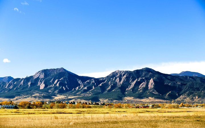 Boulder Flat Irons in the fall. Front Range, Boulder County, Colorado
