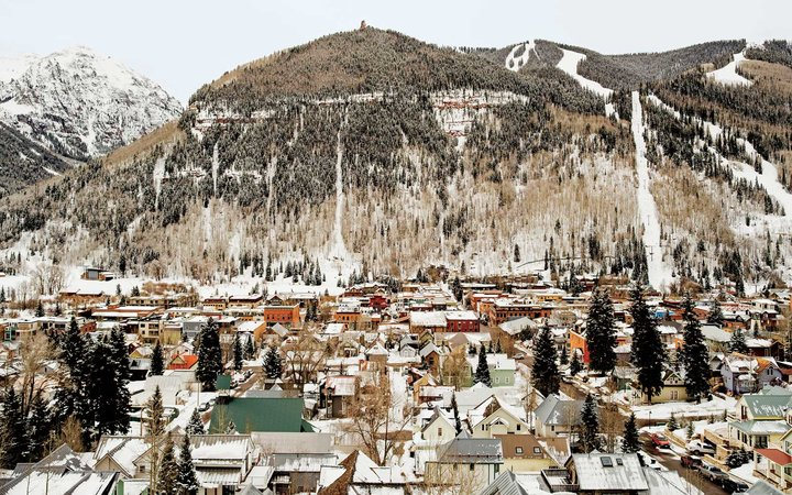 View of the ski town of Telluride, Colorado