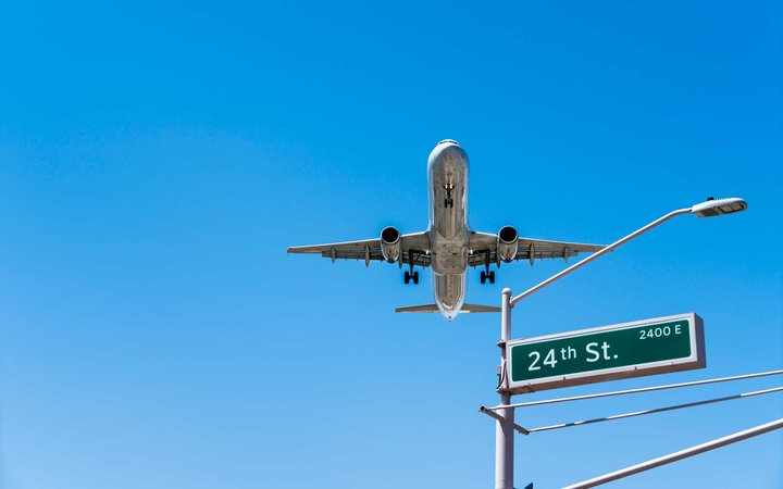 Commercial Jet Airliner Coming in to Land at Sky Harbor Airport Phoenix Arizona