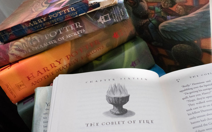 A collection of Harry Potter books are pictured at the home of Caitlin Moore in Washington, DC.