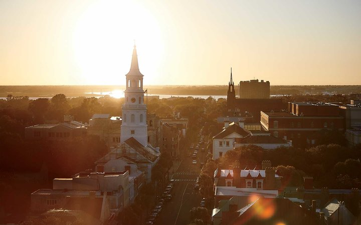 The view of Broad Street and St Michael's church, in Charleston, SC