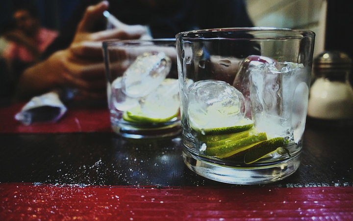 Close-Up Of Empty Cocktails On Table