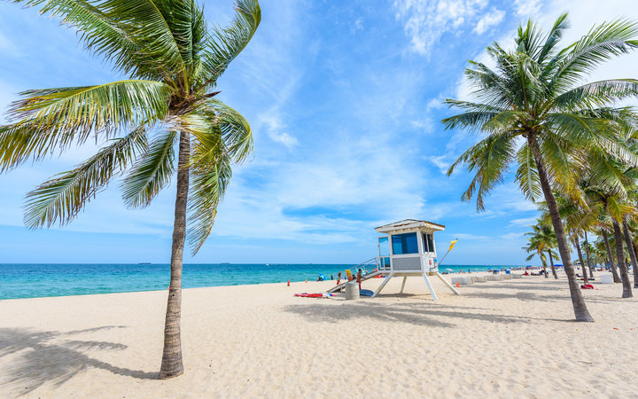 Paradise beach at Fort Lauderdale in Florida on a beautiful sumer day. Tropical beach with palms at white beach.