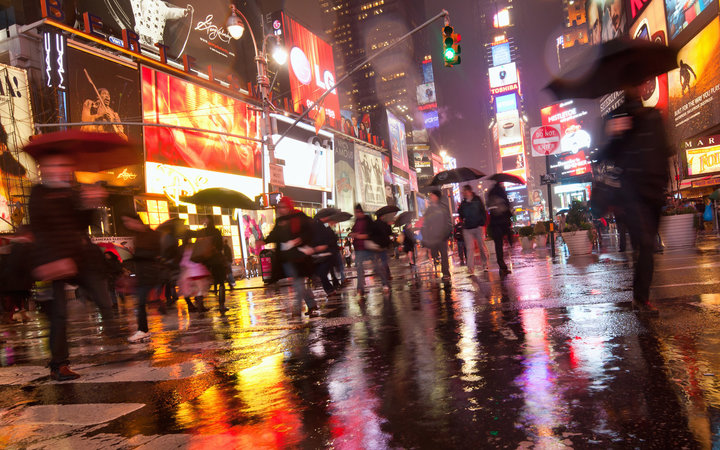 Rain at Times Square, New York