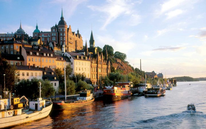 Buildings at the waterfront, Mariaberget, Sodermalm, Stockholm, Sweden