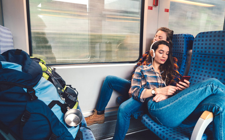 Young Couple Traveling on Train