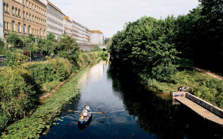 Canoeing on Karl-Heine Canal in Leipzig, Germany