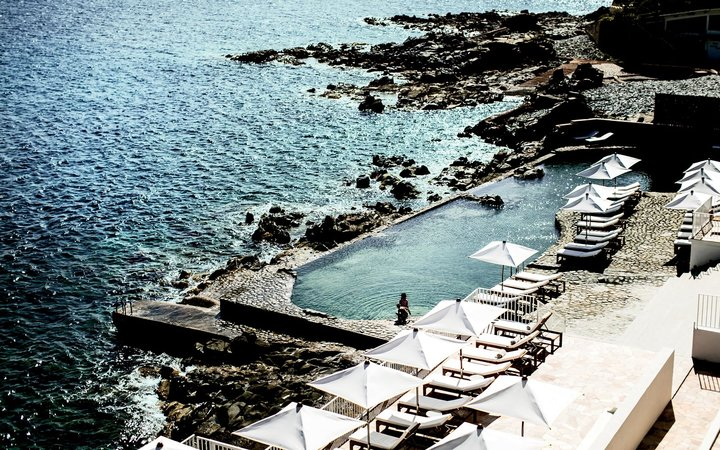 Saltwater swimming pool at the Hotel Les Roches Rouges