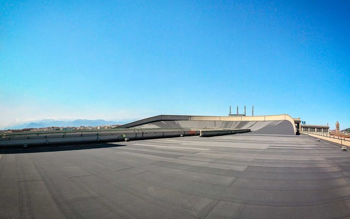 Fiat Lingotto Factory, once an avant-garde auto factory with a test track on the roof and ow an entertainment complex