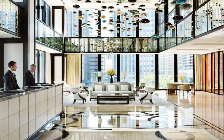 Lobby of Chicago's Langham Hotel