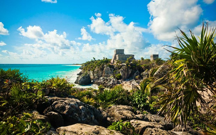 The Mayan ruins of Tulum, Mexico overlooking the ocean