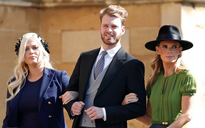 Lady Eliza Spencer, Louis Spencer, Viscount Althorp and Victoria Aitken attend the wedding of Prince Harry to Ms Meghan Markle at St George's Chapel