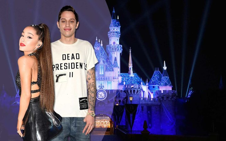 Ariana Grande with Fiance, Pete Davidson with Disneyland in the background