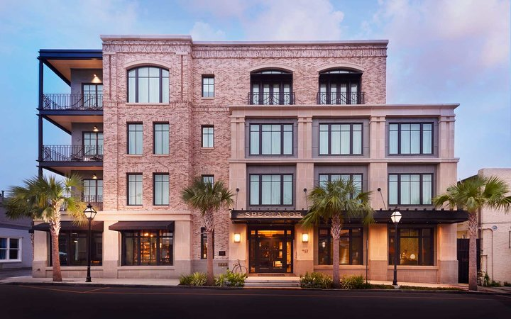 Exterior of the Spectator Hotel, in Charleston SC