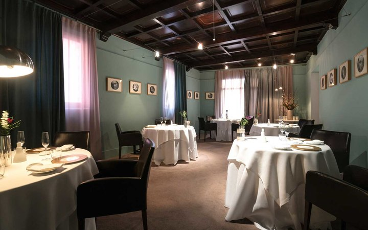 Dining room at the Osteria Francescana, in Modena, Italy