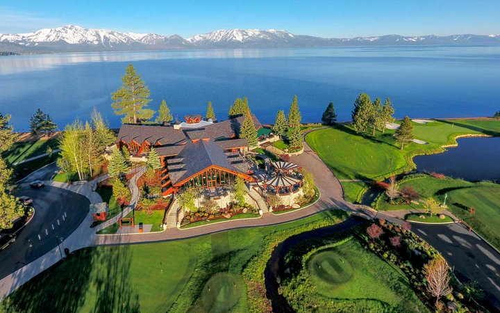 Aerial view of the Lodge of Edgewood Tahoe