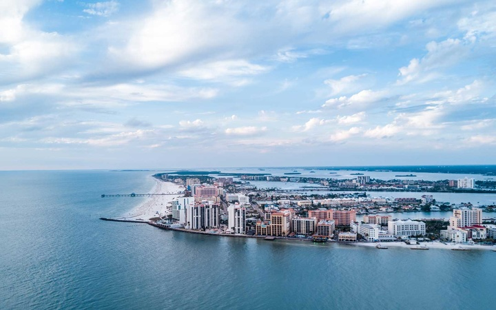 Aerial photo of Clearwater Beach in Clearwater, FL.