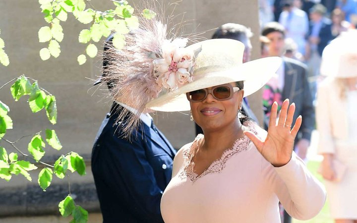 US presenter Oprah Winfrey arrives for the wedding ceremony of Britain's Prince Harry, Duke of Sussex and US actress Meghan Markle at St George's Chapel, Windsor Castle, in Windsor, on May 19, 2018