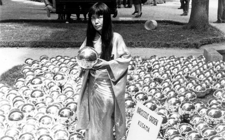 Narcissus Garden byYayoi Kusama at Venice Biennale 1966 installation and portrait