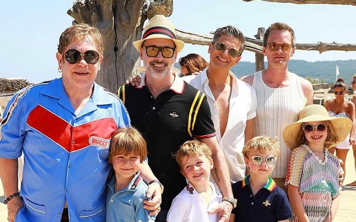 Neil Patrick Harris and Elton John on a family vacation
