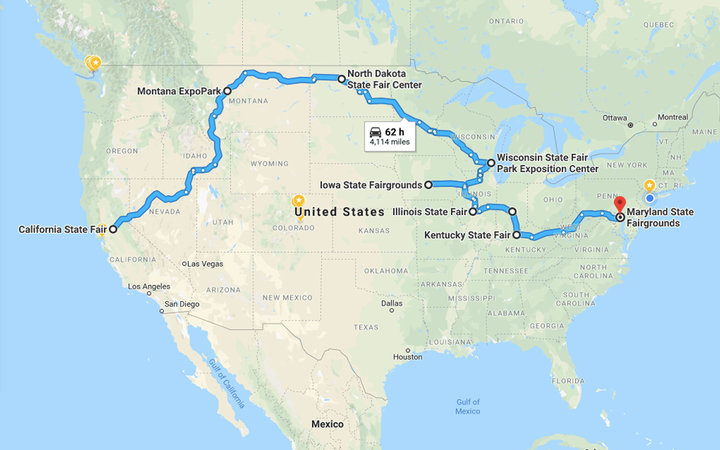 Google Map directions for the ultimate State Fair road trip