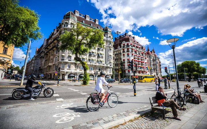 Stockholm city center with traffic and people, Sweden