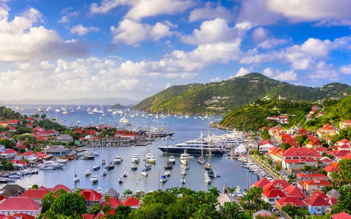 Saint Barthelemy skyline and harbor in the West Indies of the Caribbean.