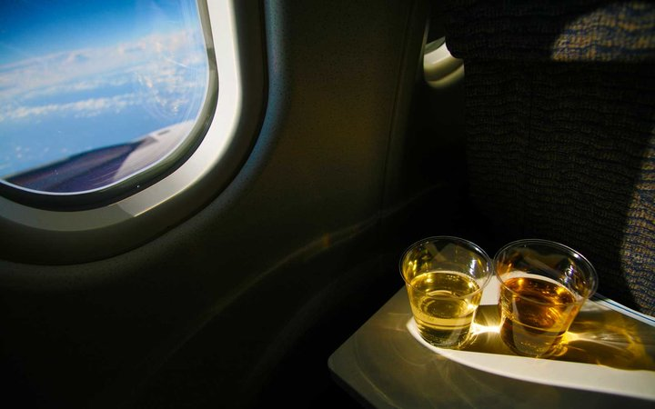 Wine served on an airplane