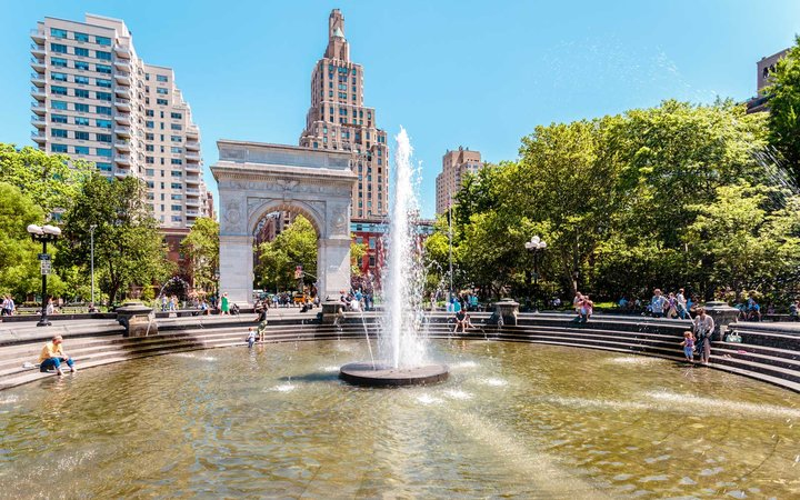 Spring Day in Washington Square Park, New York City