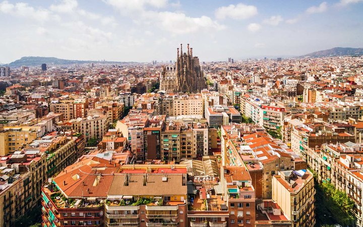 La Sagrada Familia Cathedral and Barcelona Cityscape, Spain