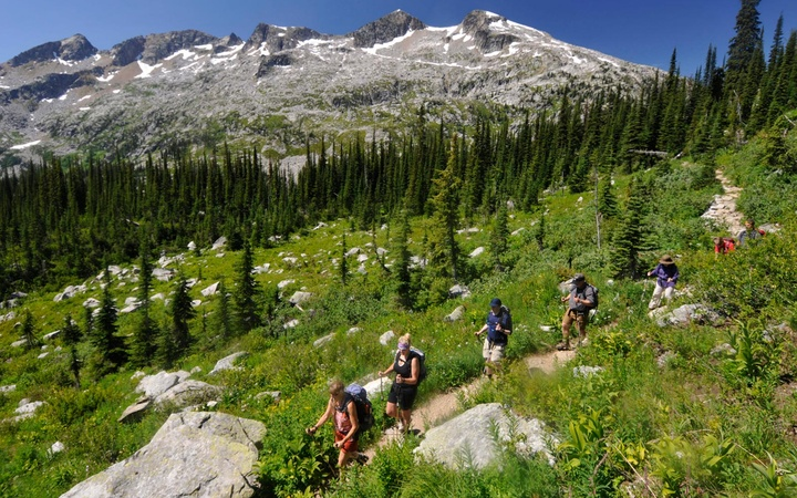 Group hike with Mountain Trek resort in British Columbia
