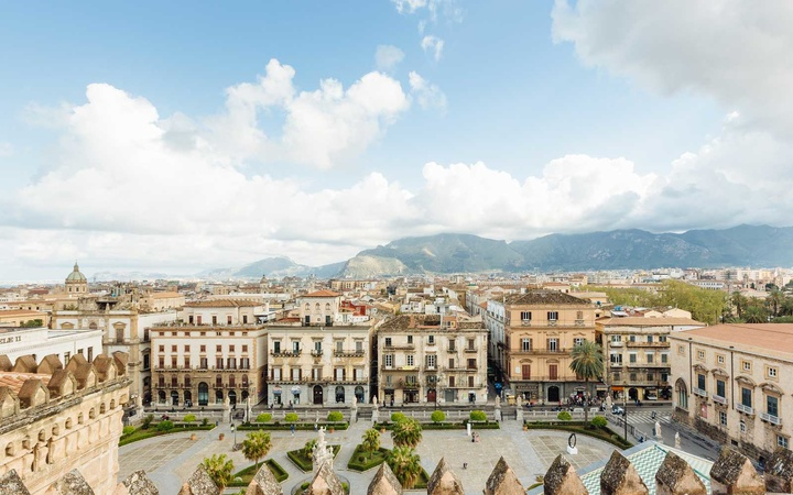 Mountain across cityscape, Palermo, Sicily, Italy, Europe