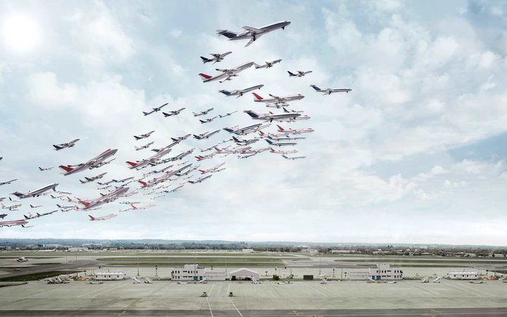 Airplanes taking off over time