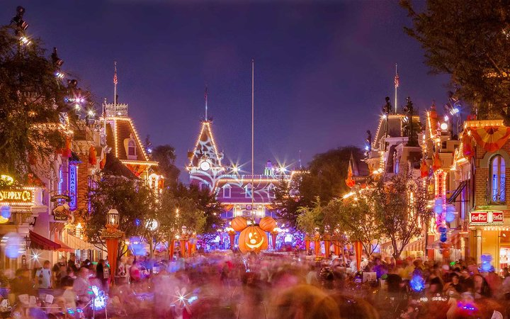 Nighttime at Disneyland, in California